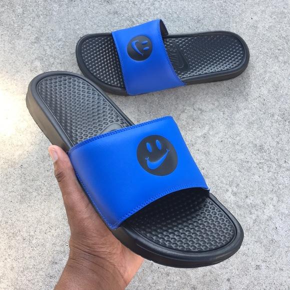 blue gold nike slides